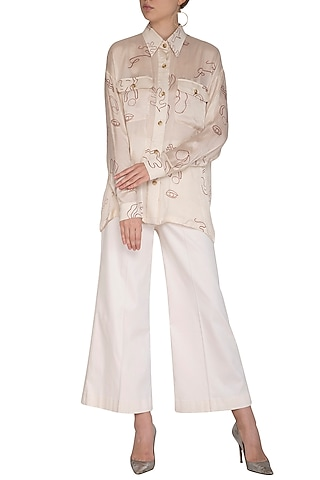 Off White Screen Printed Shirt With Boot-Cut Pants by Little Things Studio
