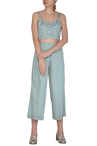 Chalk Green Screen Printed Bustier With Pants by Little Things Studio