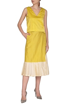 Yellow Pleated Top With Wrap Skirt by Little Things Studio