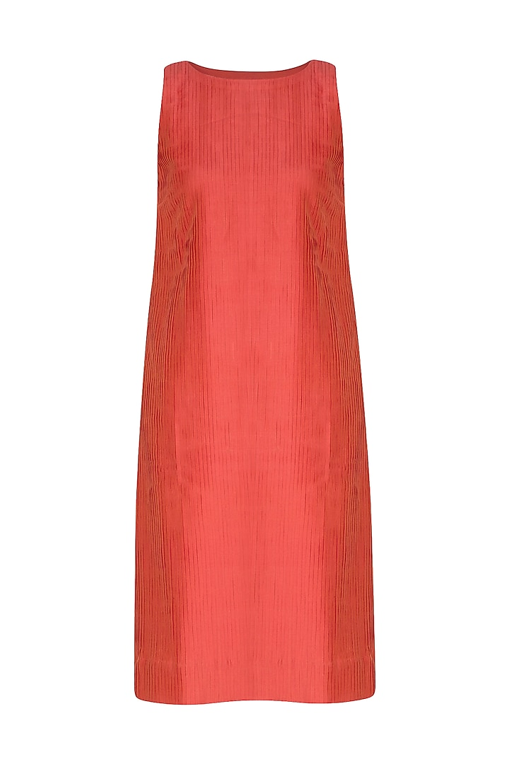 Red Pleated Pintucks Dress by Little Things Studio