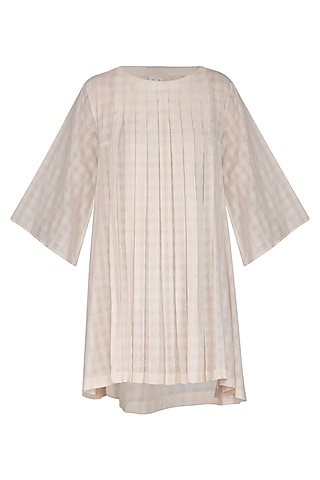 Ivory Pleated Checkered Dress by Little Things Studio