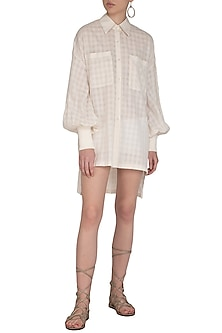 Ivory Checkered Trench Shirt Dress by Little Things Studio