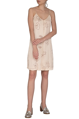 Ivory Screen Printed Strappy Dress by Little Things Studio