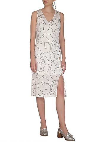White Screen Printed Dress With Inner Slip by Little Things Studio