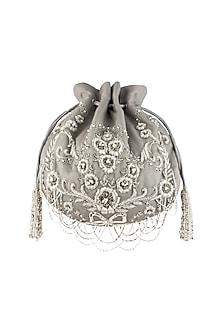 Grey Embroidered Sling Potli Bag by Lovetobag