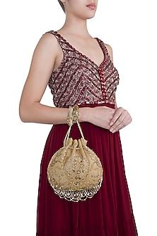 Gold Embroidered Tasseled Potli Bag by Lovetobag