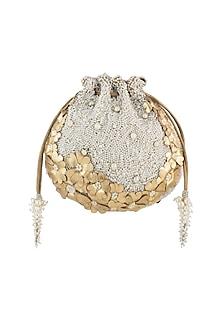 Gold & Ivory Embroidered Potli Bag by Lovetobag