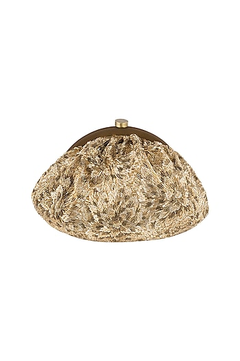 Gold Embroidered Satin Pouch Clutch by Lovetobag
