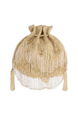 Gold Embroidered Tasseled Potli by Lovetobag