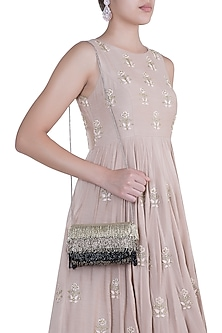 Grey Embroidered Flap Over Clutch by Lovetobag
