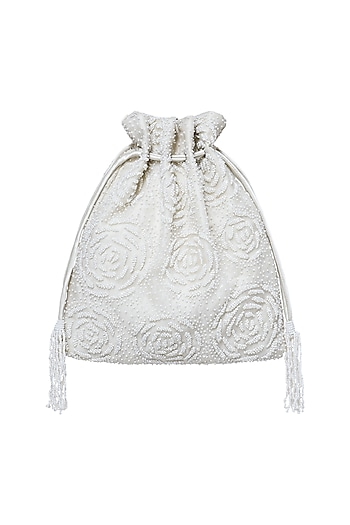 White Embroidered Sling Potli by Lovetobag