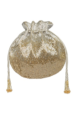 Gold & Silver Embroidered Potli With Drawstrings by Lovetobag