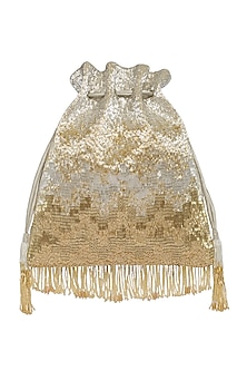 Gold & Silver Embroidered Potli With Wristlet Handle by Lovetobag