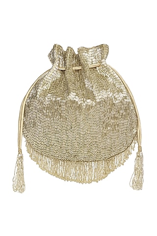 Gold & Silver Bead Embroidered Potli by Lovetobag
