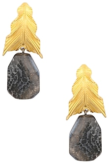 Gold Plated Textured Leaf Drop Earrings by Limited Edition