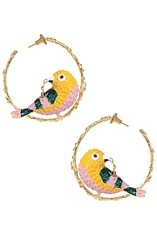 Gold Plated Meena Work Bird Hoop Earrings by Limited Edition