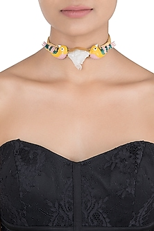 Gold plated multi coloured choker necklace by LIMITED EDITION
