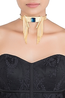 Gold plated blue stone choker necklace by LIMITED EDITION