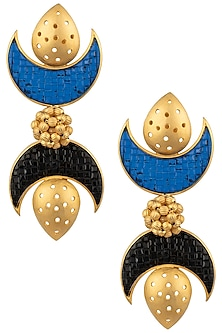 Gold Plated Black and Blue Stone Double Crescent Earrings by Limited Edition