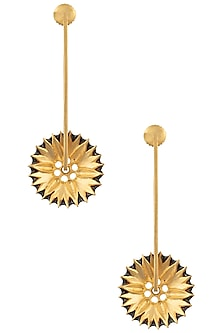 Gold Plated Spike Floral Motif Earrings by Limited Edition