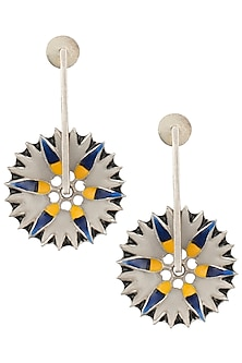 Silver Plated Spike Floral Motif Meena Earrings by Limited Edition