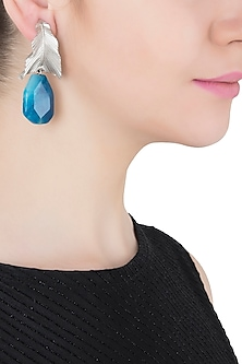 Silver Plated Blue Stone Drop Leaf Shaped Earrings by Limited Edition
