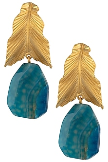 Gold Plated Blue Stone Drop Leaf Shaped Earrings by Limited Edition