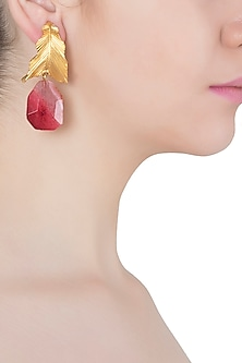 Gold Plated Pink Stone Drop Leaf Shaped Earrings by Limited Edition