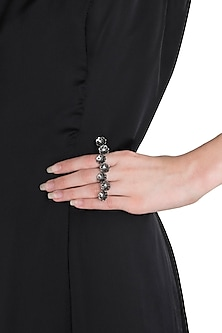 Gunmetal Plated Floral Motif Multi Double Ring by Limited Edition