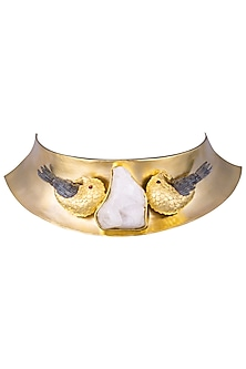 Gold Plated Bird Motif White Stone Choker Necklace by Limited Edition