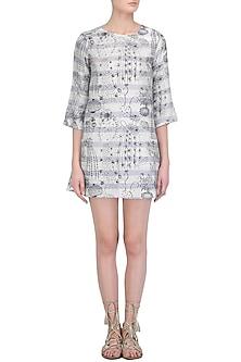Grey Cactus Print Stripe Shift Dress by Little Things Studio