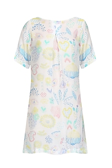 White Printed Front Pleated Dress by Little Things Studio