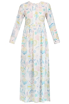 White Printed Long Maxi Dress by Little Things Studio