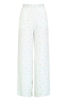 White Printed High Waisted Pants by Little Things Studio