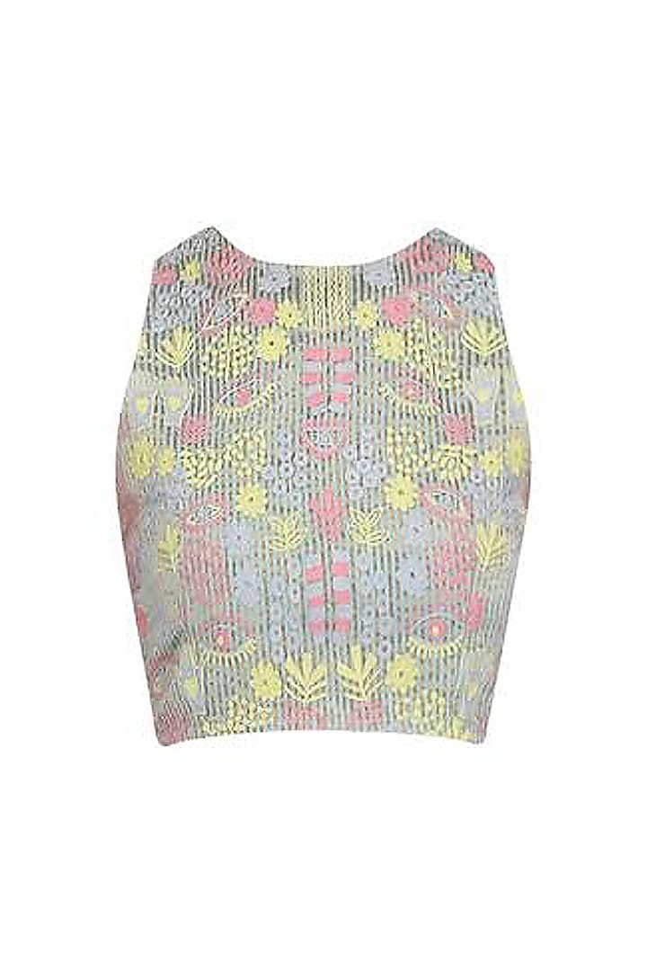 Grey and Pastel Hues Embroidered Crop Top by Little Things Studio