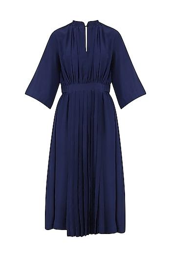 Blue Front Pleat Gather Dress by Lovebirds
