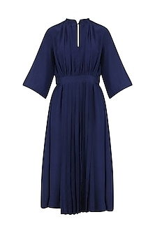 Blue Front Pleat Gather Dress by Lovebirds
