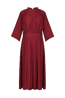Red Front Pleat Gather Dress by Lovebirds