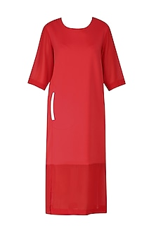 Red Sheer Hem Midi Dress by Lovebirds