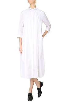 White Gathered Shirt Dress by Lovebirds