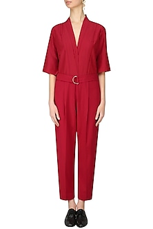 Red Classic Jumpsuit by Lovebirds