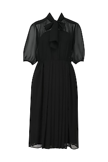 Black Sheer Front Pleats Dress by Lovebirds