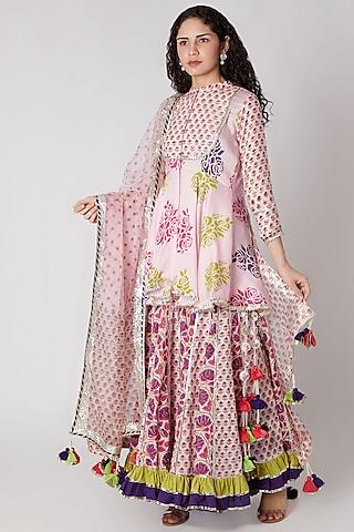 Pink Kurta With Sharara Pants & Dupatta by Maayera Jaipur