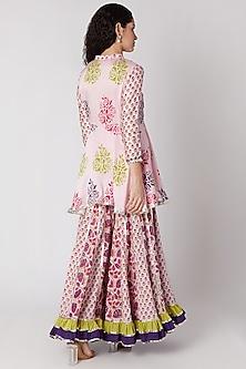 Blush Pink Sharara Set by Maayera Jaipur