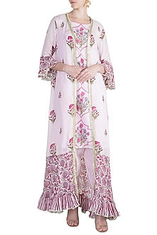 Blush Pink Jacket Kurta Set by Maayera Jaipur