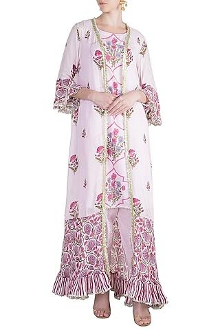 Blush Pink Jacket Kurta Set by Maayera Jaipur