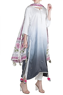 Grey Kurta Set by Maayera Jaipur