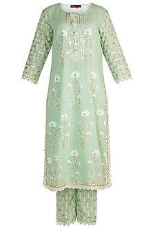 Mint Green Cotton Kurta Set by Maayera Jaipur