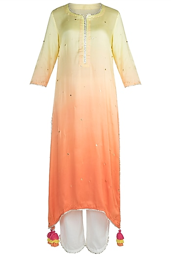 Lime & Peach Kurta Set by Maayera Jaipur
