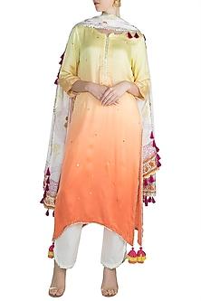 Lime & Peach Kurta Set by Maayera Jaipur